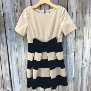 NWT Orla Kiely Boat Neck Dress Velvet Cream Black